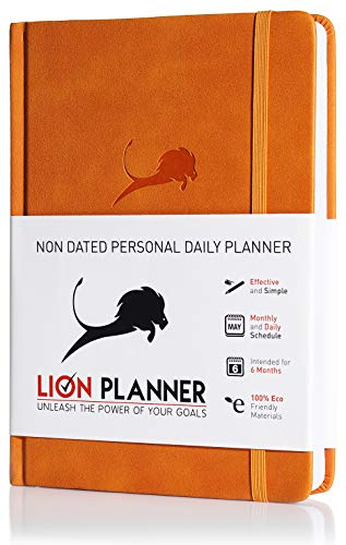Daily Planner, Calendar and Gratitude Journal to Increase Productivity, Time Management & Happiness - Vegan Leather Hardcover, Undated 24-Hour Schedule a Day Life Planner - 6 Months (Orange)]()
