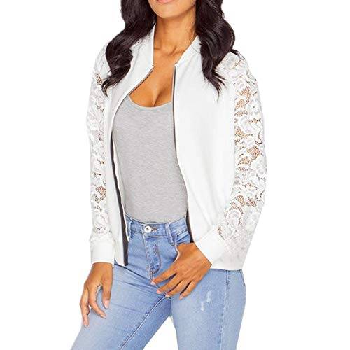 LISTHA Lace Long Sleeve Zip Up Jackets Women Short Bomber Coat Casual Outwear White