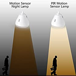 SUPERNIGHT E27 5W PIR Motion Sensor Detector LED Light Bulb Motion Activated Night Lamp for Garage Door Closet Cabinet Porch, 360 Degrees Adjustable, 2 Mode, Warm White Light