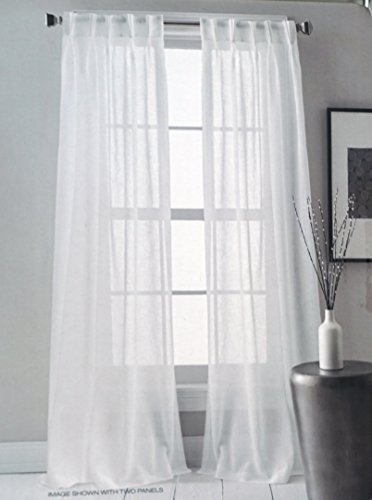 (DKNY Pair of Window Pinch Pleat Panels Curtains Drapery Set of 2 Solid White -- Downtown Sheer -- 28 Inches by 84 Inches)