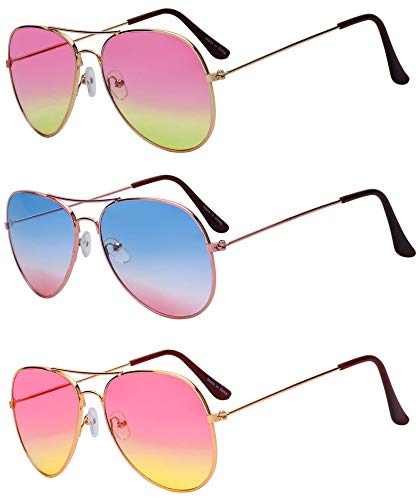3 Pairs Aviator Glasses 2 Tone Assorted