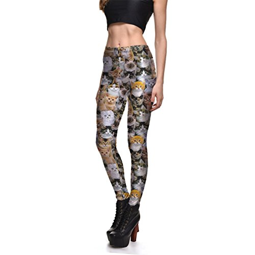Lesubuy Mid-Waist Cats Patterns Womens Sports Ankle-Length Leggings Large