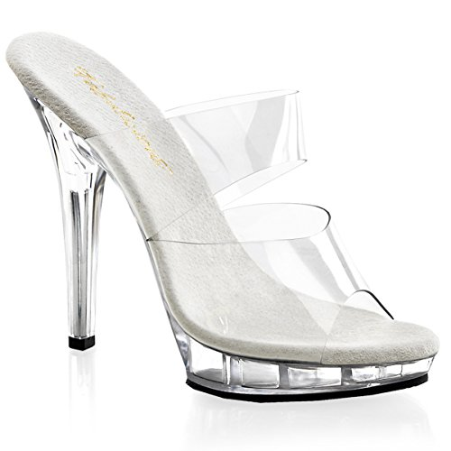 - FABULICIOUS High Heel Stiletto Shoes Two Band Platform Mule Sandal LIP-102 Clear-8
