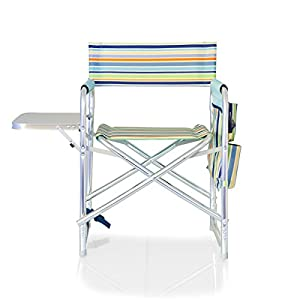 Picnic Time Portable Folding Sports Chair, St. Tropez Stripe