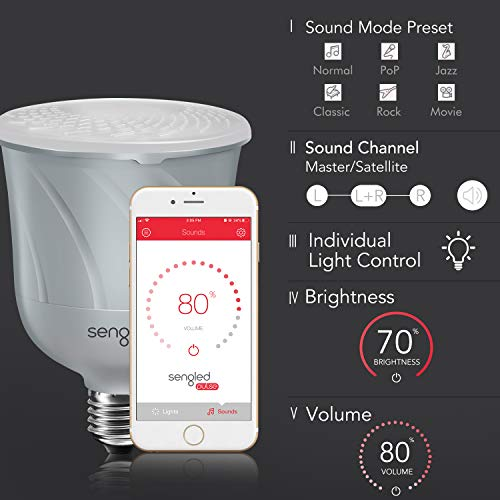 Sengled+ C01-BR30SP Pulse Dimmable LED Light Bulb with a Built-In Wireless Bluetooth JBL Speaker, Satellite Bulb, Pewter