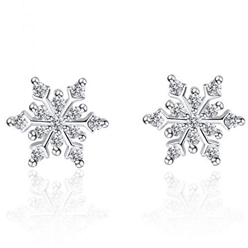 KWUNCCI Cubic Zirconia Winter Party Snowflake Stud Earrings with 925 Sterling Silver Plated for Women/Girls Thanksgiving Christmas Gifts (Snowflake Winter Earrings)