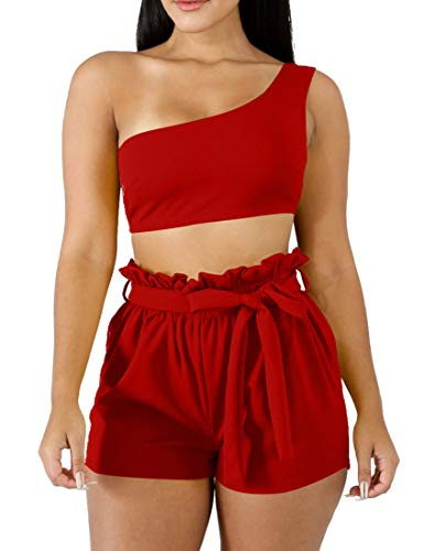 (BORIFLORS Womens Sexy 2 Piece Set One Shoulder Crop Top Ruched Shorts Club Jumpsuit,Large,Red)
