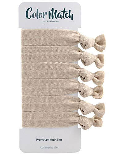 Match Your Hair Color Elastic Knotted Ribbon Ponytail Holders - 6 Count (Ash Blonde)