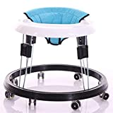 Adjustable Height Baby Walkers for Boys and Girls with Easy Clean Tray and 8 Universal Wheels, Anti-Rollover Folding Toddler Walker for Baby 6-18Months (Flax Blue Cushion)