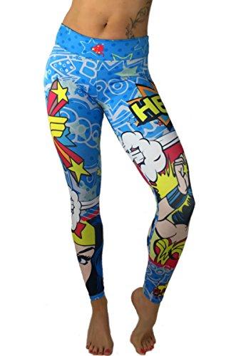 S2 Activewear Wonder Woman Superhero Leggings Yoga Pants Compression (Captain America Girl Costume With Pants)