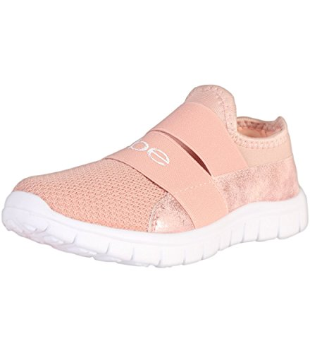 Price comparison product image bebe Girls Slip On Lightweight Athletic Sneaker, Blush, 4-5 M US Big Kid'