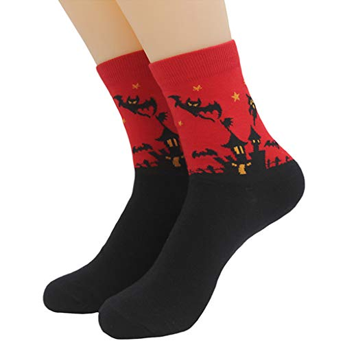Shaoge Women Men Unisex Cotton Long Socks Halloween Painting Elastic Ankle Warm Socking ()