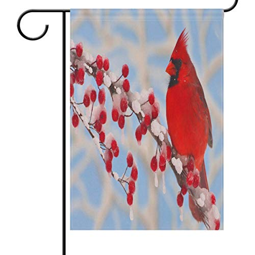 (Afagahahs Cardinal Bird Garden Flag House Banner Winter Cherry Small Mini Decorative Double Sided Welcome Yard Flags for Holiday Wedding Party Home Outdoor Outside)