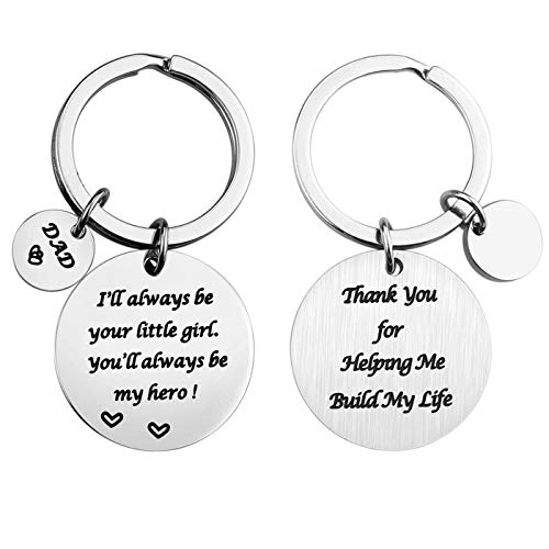 Birthday Gifts for Men from Daughter Son, Dad Keychain Fathers Day Gift, Ill Always Be Your Little Girl Boy, Youll Always Be My Hero Key Ring (Girl)