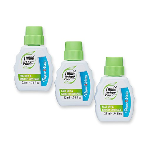Paper Mate Liquid Paper Fast Dry Correction Fluid, 22 mL, 3 Count - Correction Fluid