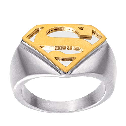 DC Comics Mens Stainless Steel Justice League Superhero Logo Ring Jewelry, Superman Gold, Size 10