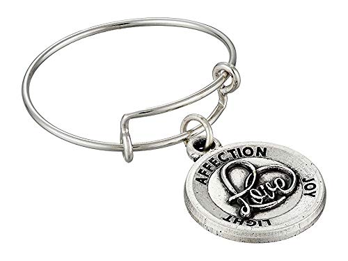 Alex and Ani Love II Expandable Rafaelian Silver Stackable Ring, Size 7-9