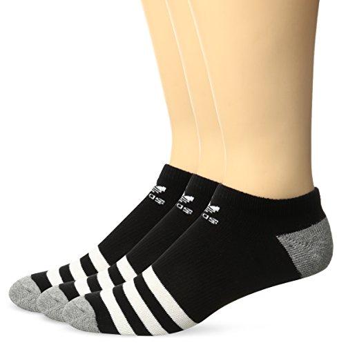 adidas Boys / Youth Originals No Show Socks (3-Pack), Black/White, Large