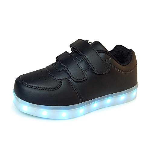 Led Luminous Shoes for Boys Girls Light Up Casual Kids 7 Colors USB Charge New Children Sneakers 1166 Black 12 ()