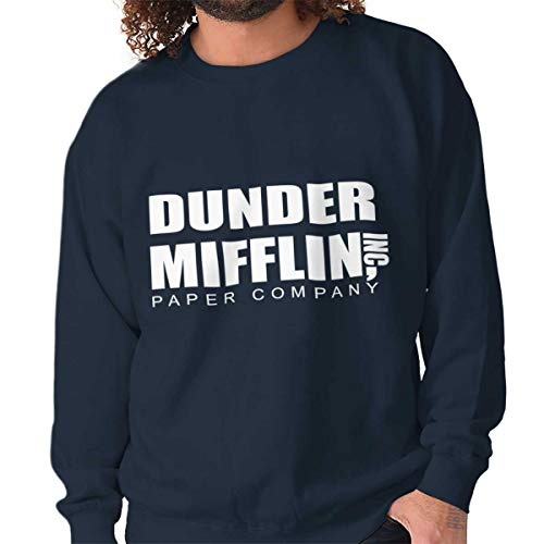 (Brisco Brands Dunder Paper Company Mifflin Office TV Show Crewneck Sweatshirt Navy)