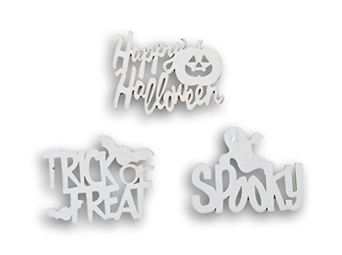 Natural Wood Unpainted Halloween Arts and Crafts Cutout - 3 Count - Spooky, Trick or Treat, Happy Halloween -