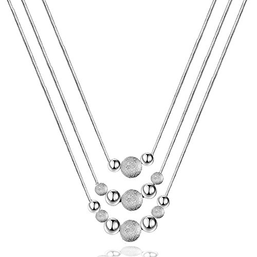 Winter's Secret 3 Row Fashion Silver Plated Beads Women Beauty Necklace