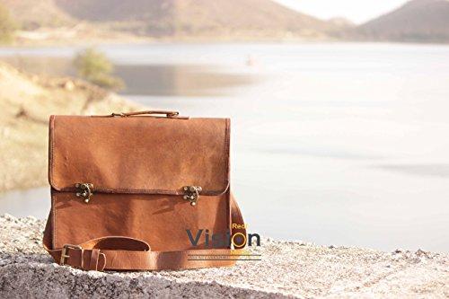 Real Vision Made Sacchetto di cuoio della cartella del sacchetto del messaggero del cuoio genuino 15inch Sacchetto del computer portatile della spalla del messaggero del messaggero del cuoio dell'uomo