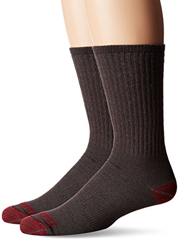 Timberland Mens 2 Pack Mid-Weight Merino Wool Crew Sock, Brown, One Size