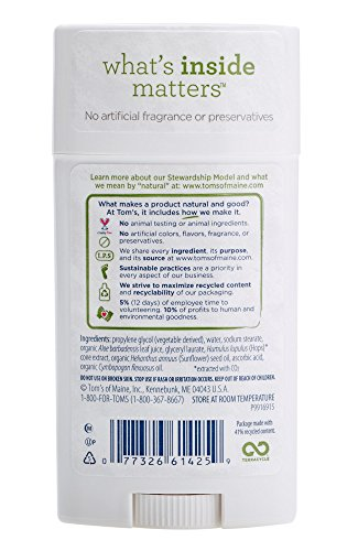 Toms of Maine Natural Deodorant Stick, Unscented, 2.25 Ounce, Pack of 6