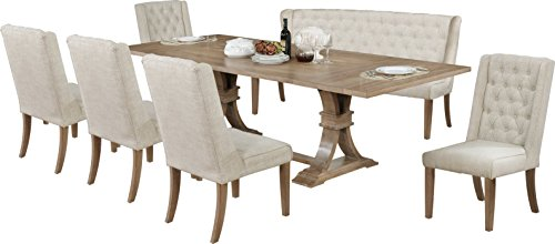 Best Quality Furniture D377PCSet 7PC Dining Set Bench, 9PC, Beige