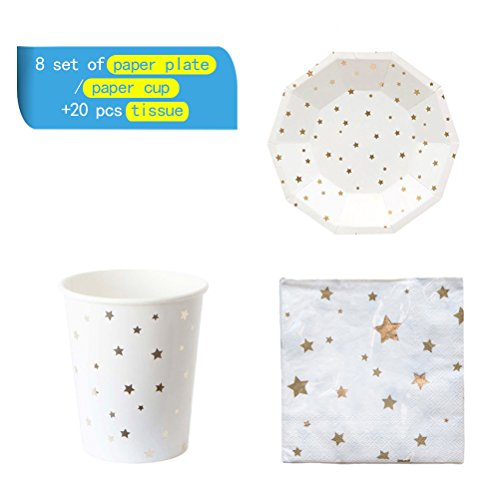 NUOLUX 36pcs Disposable Party Tableware Eco-Friendly Plates Dishes Cups Napkins for Party (Golden Foil Stars) - Moon White Cup