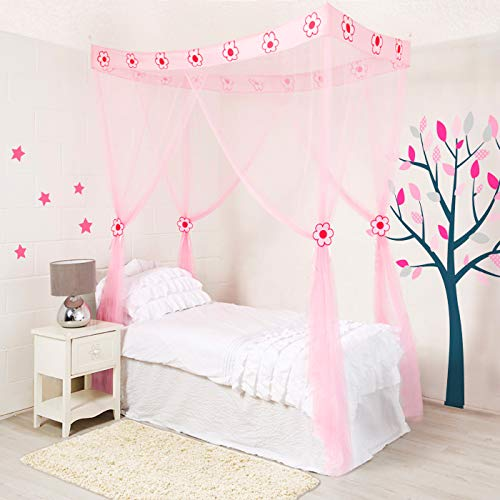 4 Poster Bed Canopy for Girls - Mosquito Net Insect Protection Easy to Hang Ideal Bedroom Accessory Gift for Girls Pink Play Tent