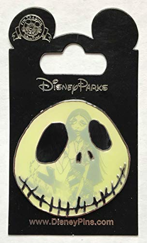 Disney Pin 128848 Nightmare Before Christmas - Jack Skellington face with Sally glow pin]()