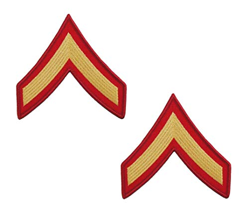 USMC Chevron Gold on Red Enlisted Rank (E-2 PRIVATE FIRST CLASS, MALE)
