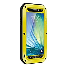 Waterproof Case for Galaxy A5,Shockproof Waterproof Dust Proof Love Mei Aluminum Metal Gorilla Glass Protection Hybrid Hard Powerful Case For Samsung Galaxy A5 (Yellow)