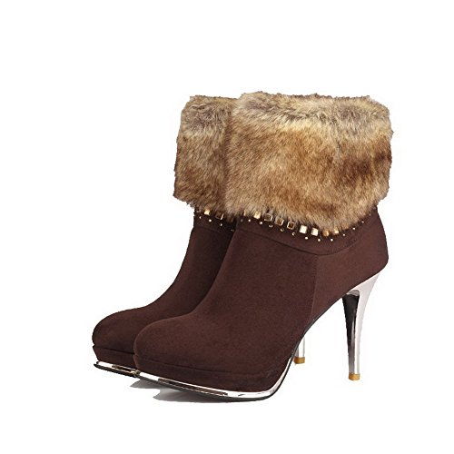 Women's High Heels Solid Closed Brown AmoonyFashion Boots Toe Materials Blend pwdUpq