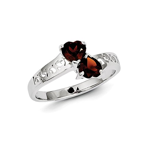 ICE CARATS 925 Sterling Silver Red Garnet Heart Band Ring Size 6.00 S/love Gemstone Fine Jewelry Gift Set For Women Heart - Garnet Sterling Silver Designer Ring
