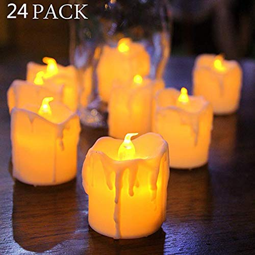 LED Tear Drop flameless Candle Warm White Flicker TeaLight Candle Battery Powered for Wedding Christmas Party Decoration 24pcs ()