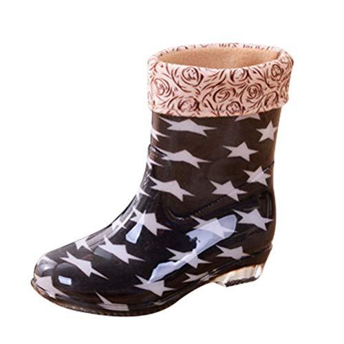 Jeelinbore Impermeabile fodera Stivali Giardino Donna Calda stella Wellington Boots Stivaletti Da Nero Antiscivolo Di Gomma Pioggia rrY6RnT