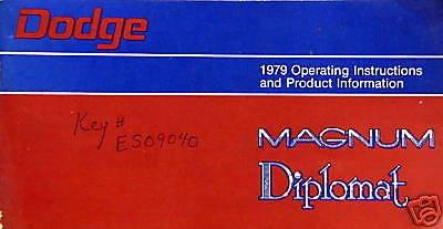 1979 Dodge Magnum/Diplomat Operating Manual