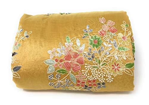 Inhika Womens Cotton Silk Fabric Material by The Yard, White Floral Embroidery Filled with Multicolour Sequins for Dress (1 Yard, Yellow)