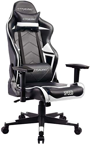 GTracing Ergonomic Office Chair Racing Chair Backrest and Seat Height Adjustment Computer Chair With Pillows Recliner Swivel Rocker Tilt E-sports Chair (White) GTRACING