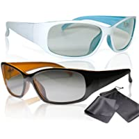 2x Passive 3D Movie & Tv Glasses - Unisex - High Quality - Black / Orange and White / Turquoise - For Reald Cinema Use and Passive 3D Tvs Such As Lg Cinema 3d and Philips Easy 3d- Circularly Polarized - With Microfiber Cloth and Pouch