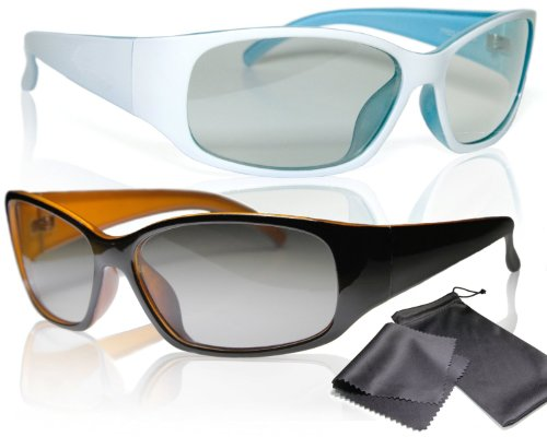 """2x Passive 3D Movie & Tv Glasses - Unisex - High Quality - Black / Orange and White / Turquoise - For Reald Cinema Use and Passive 3D Tvs Such As Lg """"Cinema 3d"""" and Philips """"Easy 3d""""- Circularly Polarized - With Microfiber Cloth and Pouch"""