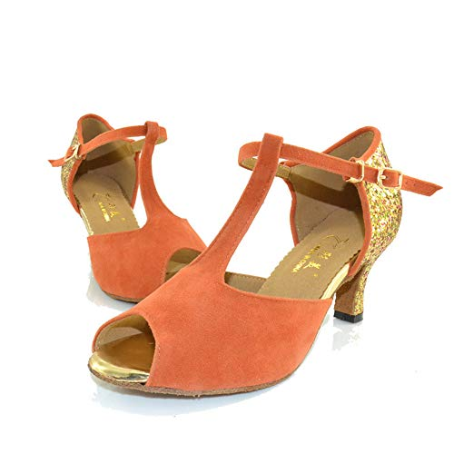 High Suede Banquet Bottom Dance Heel Latin Female Shoes Orange6cm Soft QXH wpPXY