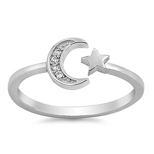 CHOOSE YOUR COLOR Sterling Silver Moon Star Open Ring