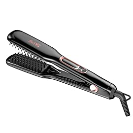 BERTA Hair Straightener Brush Professional Negative ions Flat Iron Ceramic Hair iron Comb For Natural Curls/Straight - 41PAsXCzrWL - BERTA Hair Straightener Brush Professional Negative ions Flat Iron Ceramic Hair iron Comb For Natural Curls/Straight