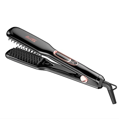 BERTA Hair Straightener Brush Professional Negative ions Flat Iron Ceramic Hair iron Comb For Natural Curls/Straight