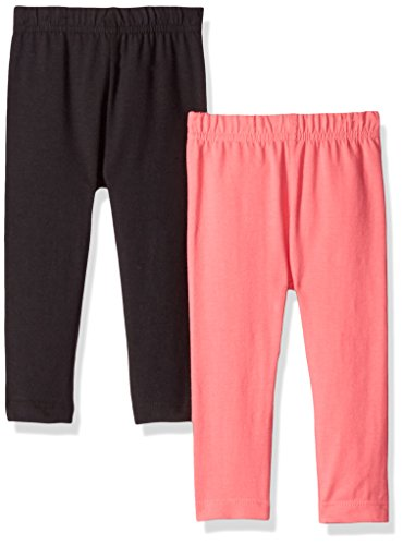Gerber Girls' 2 Pack Leggings, Coral/Black, 3-6 Months