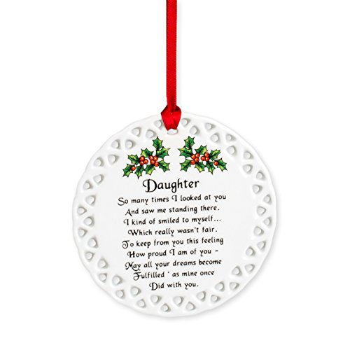 Daughter How Proud I Am of You Holly Berries Circle Disk Porcelain Christmas Ornament